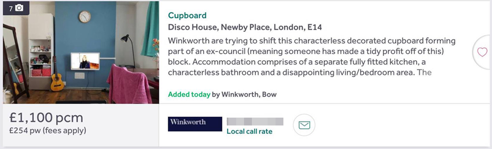 An estate agent listing with altered text. It says 'Cupboard. Winkworth art trying to shift part of an ex-council (meaning someone has made a tidy profit off of this) blog. Accommodation comprises of a separate fully fitted kitchen, a characterless bathroom and a disappointing living/bedroom area.'